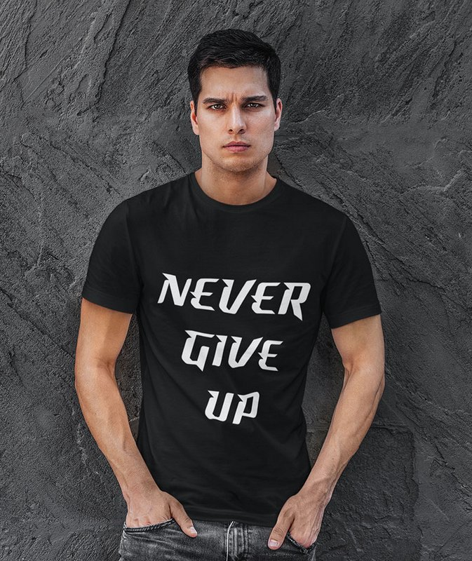 never give up black t shirt min Home Page