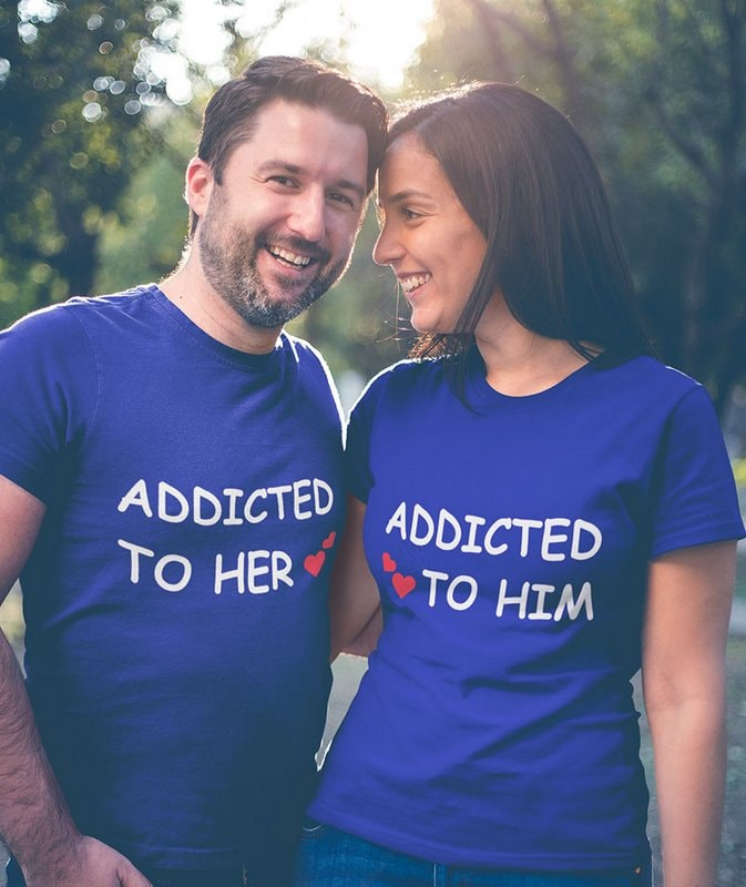ADDICTED TO HIM HER Navy Blue Couple T Shirts min Home Page