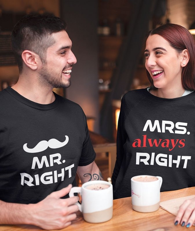 Mr Right Mrs always Right Black Couple T Shirt min Home Page