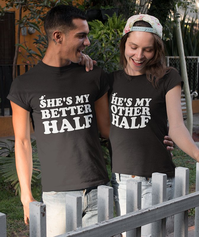 SHES HES MY BETTER Other HALF Black Couple T Shirts min Home Page