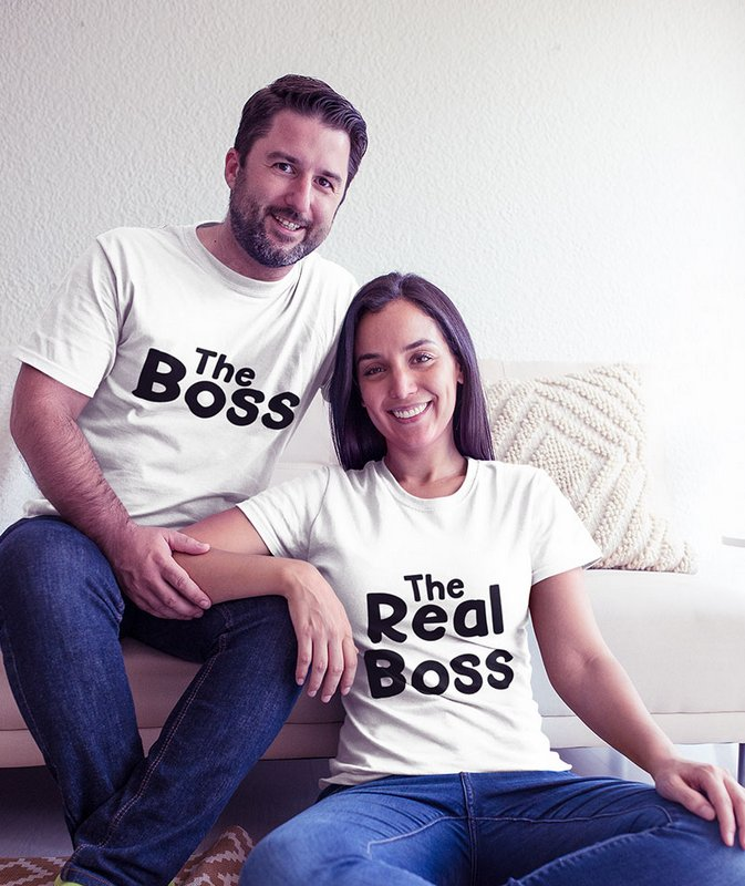 The Boss The Real Boss White Couple T Shirt min Home Page