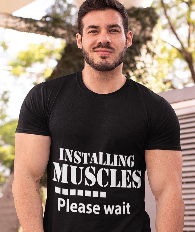 Installing Muscles Please Wait Black Wonderful T Shirt Sri Lanka Home Page